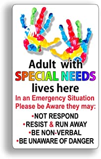 Adult Special Needs Lives Here Safety Alert Rescue 911 Safe Sticker Door Window Decal
