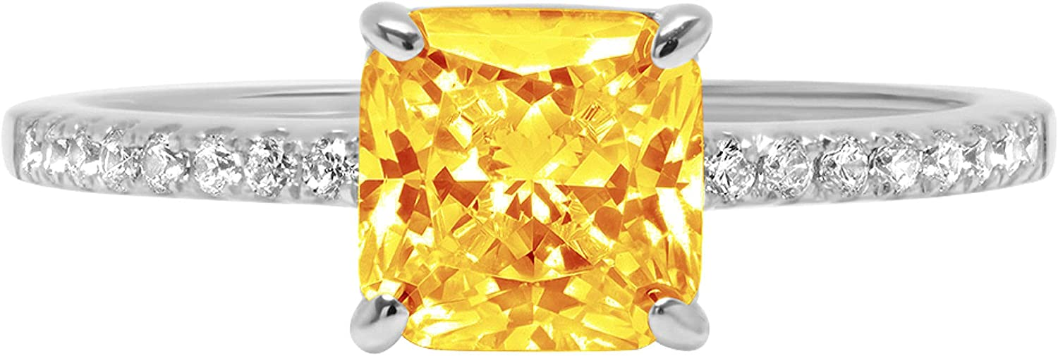 1.6ct Brilliant Asscher Cut Solitaire with Accent Natural Yellow Citrine Gemstone Ideal VVS1 Engagement Promise Statement Anniversary Bridal Wedding ring Real 14k White Gold
