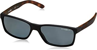 Arnette Men's AN4185 Slickster Rectangular Sunglasses, Fuzzy Black/Polarized Grey, 59 mm