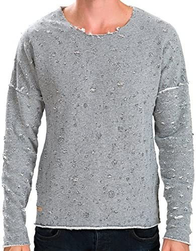 Red Bridge Hommes Pull Manches Longues Oversize D/étruit Mode Sweat-Shirt