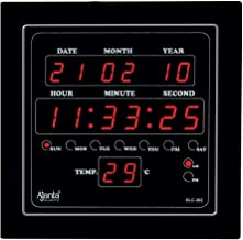 Ajanta Quartz Digital Red LED Sqare Wall Clock OLC - 302 (25.4 cm x 25.4 cm x 3.5 cm)