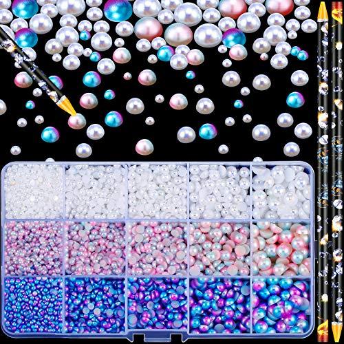 6100 Pieces Half Pearl Beads ABS Half Round Pearls Gradient Imitation Pearls Beads Flatback with 2 Self Adhesive Resin Rhinestone...