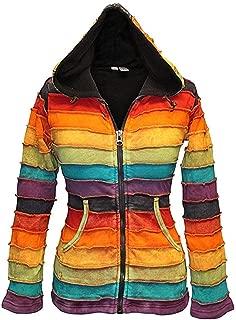 Stonewashed Fleece Lined Women Rainbow Hippy Jacket