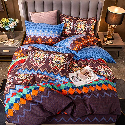 Softta Vintage Cal King Size Exotic Boho Style 3Pcs Duvet Cover Set Geometry and Bright Flowers European Palace Pattern Bedding Sets 100% Brushed Cotton Bohemian Ultra Soft Hypoallergenic