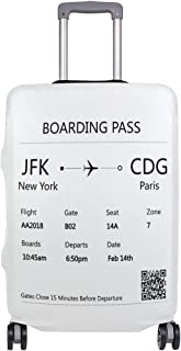 ALAZA Luggage Cover White Boarding Pass New York Paris Travel Case Suitcase Bag Protector 29 30 31 32 Inch