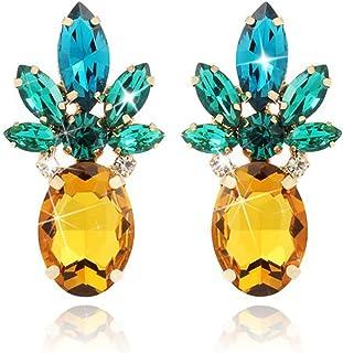 Gelbe Ananas Ohrringe Studs Bling Bling Kristallglas Vintage Trendy Nette Frucht Schmuck Für Frauen Mädchen Urlaub Beach Party Täglich