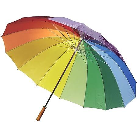 FUN FAN LINE – Parapluie Manuel avec 16 Panneaux Multicolores  en Nylon, Manchette Droite en Bois, Canne et tiges de métal pour Plus de résistance Idéal pour Les Femmes, Gay, LGBT