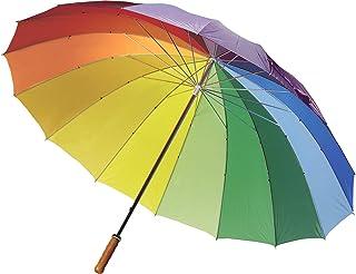 FUN FAN LINE – Parapluie Manuel avec 16 Panneaux Multicolores  en Nylon, Manchette Droite en Bois, Canne et tiges de méta...