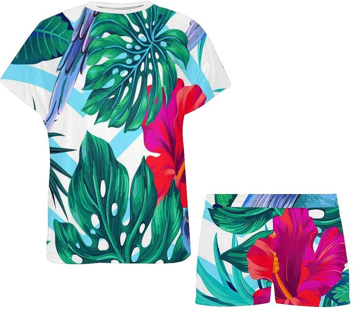 INTERESTPRINT Pattern with Tropical Parrots Women's Lightweight Pajama Set, Short Summer Pjs