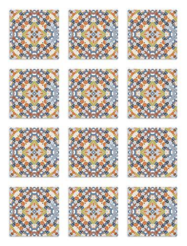 Panorama Azulejos Adhesivos Cocina Baño Pack de 48 Baldosas de 15x15 cm Azulejo Oriental Original - Vinilos Cocina Azulejos - Revestimiento de Paredes - Cenefas Azulejos Adhesivas