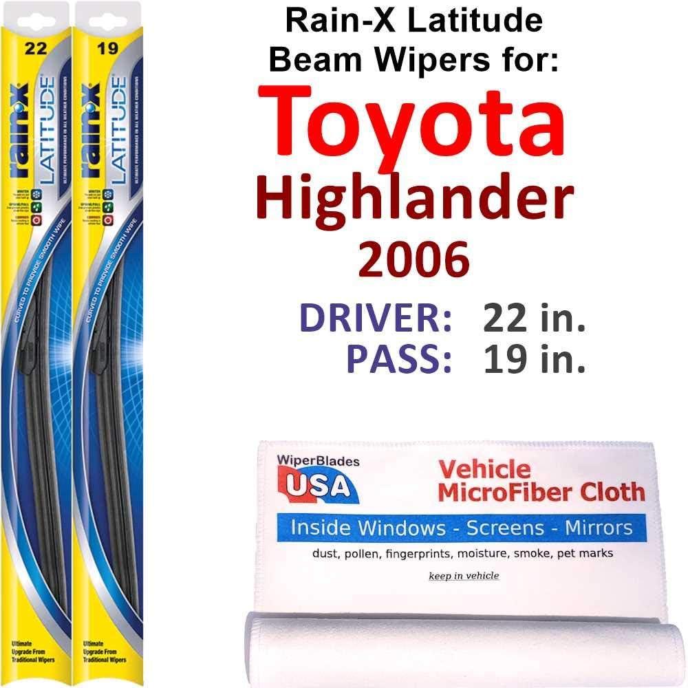 Rain-X Latitude San Francisco Mall Beam Superior Wiper Blades 2006 Set Toyota Highlander for