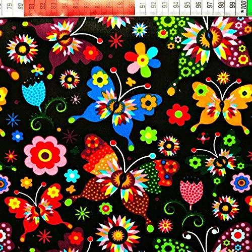Pingianer - Tela de algodón para niños, 100 % algodón, por metros, tela de costura, artesanía, diseño de mariposas, algodón, Mariposa negra multicolor., 100x160cm (11,99€/m)