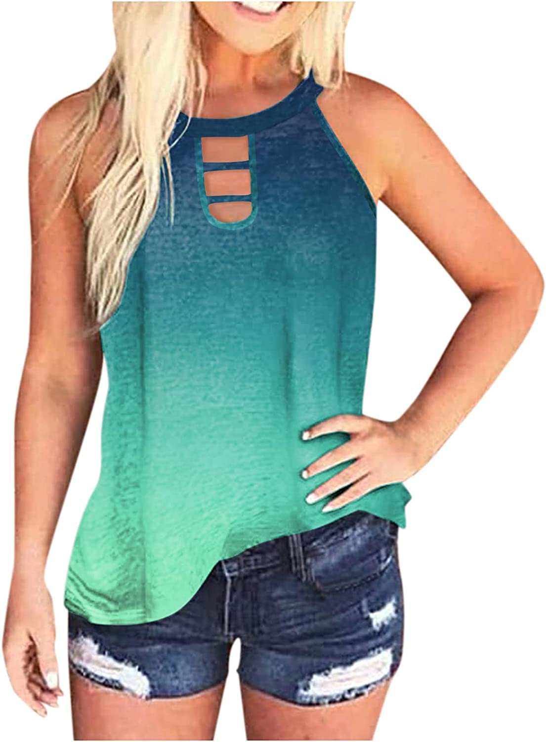 FABIURT Summer Tank Tops for Women, Womens Fashion Feather Printed Sleeveless Open Back Cami Tank Top Loose Vest Blouses