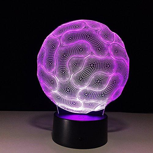 Brain Cable Smart Button Night Light 3D LED Lámpara de mesa niños regalo de cumpleaños decoración de la habitación junto a la cama