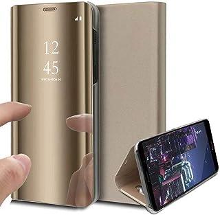 DOHUI for Oppo Reno 5 Pro 5G Case, Ultra Slim Clear View Standing Cover Flip Case Mirror Plating Holder for Oppo Reno 5 Pr...