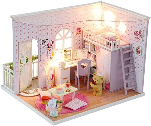 Yangxuelian Puppenhaus Miniatur DIY Haus Kit Kreative Zimmer Mit M l Und Abdeckung Für Romantische Valentinstag Festival (Farbe   Multi-ColGoldt, Größe   24  21  18cm)