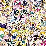 LSPLSP /Set Anime Sailor Luna Etiqueta de Dibujos Animados Pegatina Decoración Impermeable Pvc Monopatín Equipaje Motocicleta Guitarra Niño 100pcs