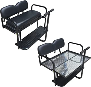 Performance Plus Carts EZGO Rear Flip Seat Kit for TXT/Medalist/PDS Model Golf Cart - Black