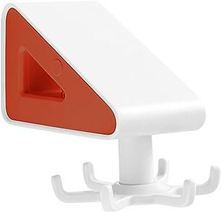 Largesoy 壁掛け収納ラック 食器ラック キッチン棚 回転可能 キッチン用品 玄関 キッチン 浴室 オレンジ