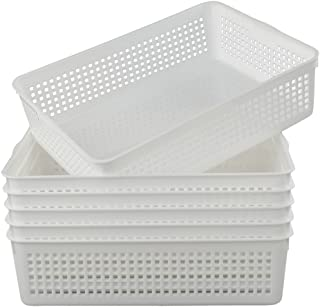 Lesbin Plastic Storage Trays Baskets/Organizing Baskets, 13.2 Inches x 9.6 Inches x 3.6 Inches, Set of 6 (White)