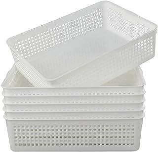 Gitany A4 Rectangulaire Plastique Panier de Rangement, Blanc, 6-Pack