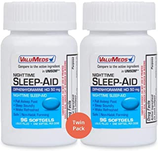 ValuMeds Nighttime Sleep Aid (Twin Pack - 192 Softgels) Diphenhydramine HCl, 50 mg | Supports Deeper, Restf...