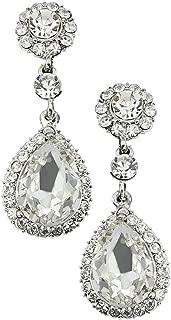 Art Deco Tacoris Style Halo Rhinestone Wedding Bridal Prom Earrings