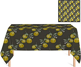 SATVSHOP Premium Tablecloth,/36x36 Square,Floral Lemon Branches with Petals Growth Essence Nature Themed Artsy Army and Olive Green Yellow.for Wedding/Banquet/Restaurant.