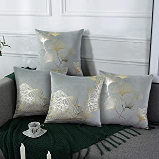 N / A Throw Pillow Covers Velvet 4Packs Super Soft 18 x 18 Inch Cushion Covers Home Decorative Square Pillowcase for Couch...