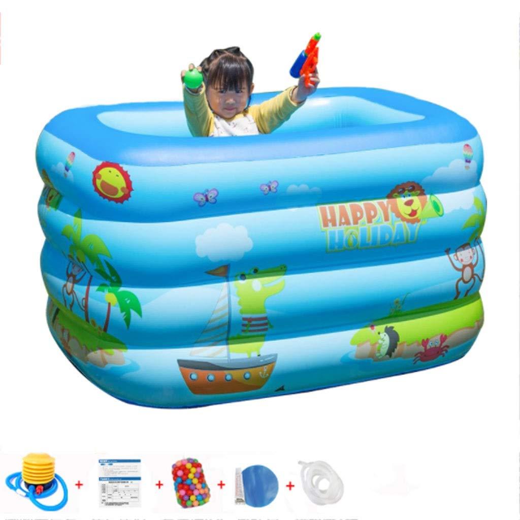 Azul Kiddie piscina piscinas portátiles for los niños, Sealive bañera inflable del bebé rectangular piscina-Blow Up Kid piscinas de plástico duro agua Juguetes for la playa al aire libre Partes de ver: