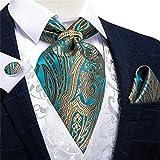 SKREOJF Hombres Vintage Teal Blue Gold Corbata Formal Auto British Style Gentleman Silk Cravat Necktie Set Hanky Tie Ring (Color : Teal Blue, Size : One Size)