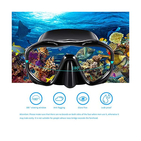 Kuyou Premium Snorkel Set, Adult Snorkeling Diving Mask Tempered Glass Silicone Swimming Goggles Mask Dry Snorkel Set