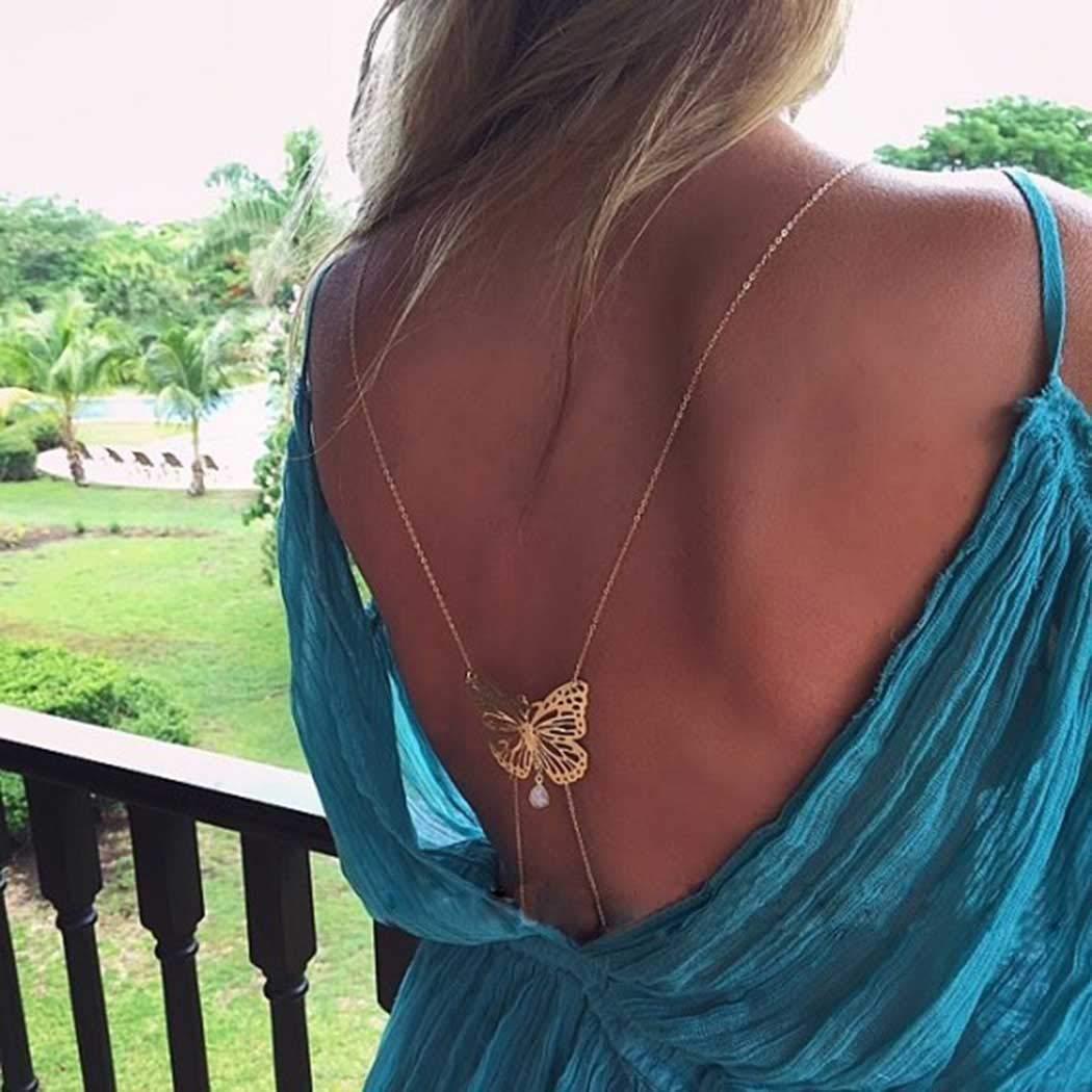 Dreamyn Sexy Body Chains Gold Butterfly Belt Bikini Chain Crystal Waist Tassel Beach Body Jewelry for Women and girls