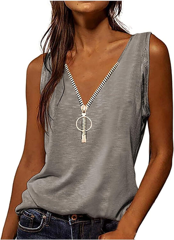 ovticza Fashion Women's Tank Tops Summer V Neck Zipper Short Sleeveless Shirts Loose Plus Size Vest