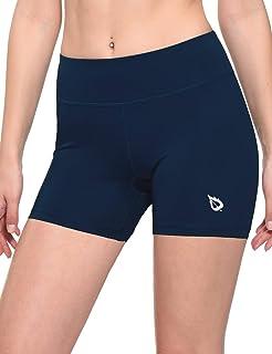 BALEAF Women's 4 Inch Compression Spandex Volleyball Biker Shorts Running Yoga Fitness Training Workout Back Pocket