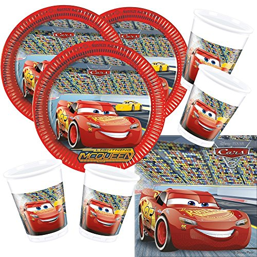 Procos Disney Pixar Party Set Cars 3 Plates Cups Napkins for 16 Children 52 Piece
