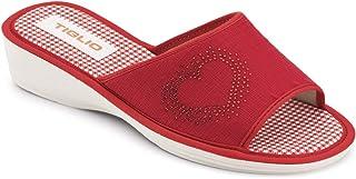 Ciabatta Pantofola Donna Estiva Comoda da CASA in Cotone con Applicazione di Brillantini Aperte Tacco 3 CM Modello 1633 Cuore