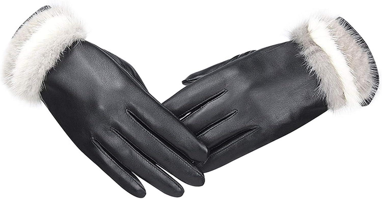 PENGYMY Winter Gloves Women Genuine Gloves Windproof Thermal Warm Fashion Glove Winter Warm Mittens (Color : Black, Gloves Size : Medium)