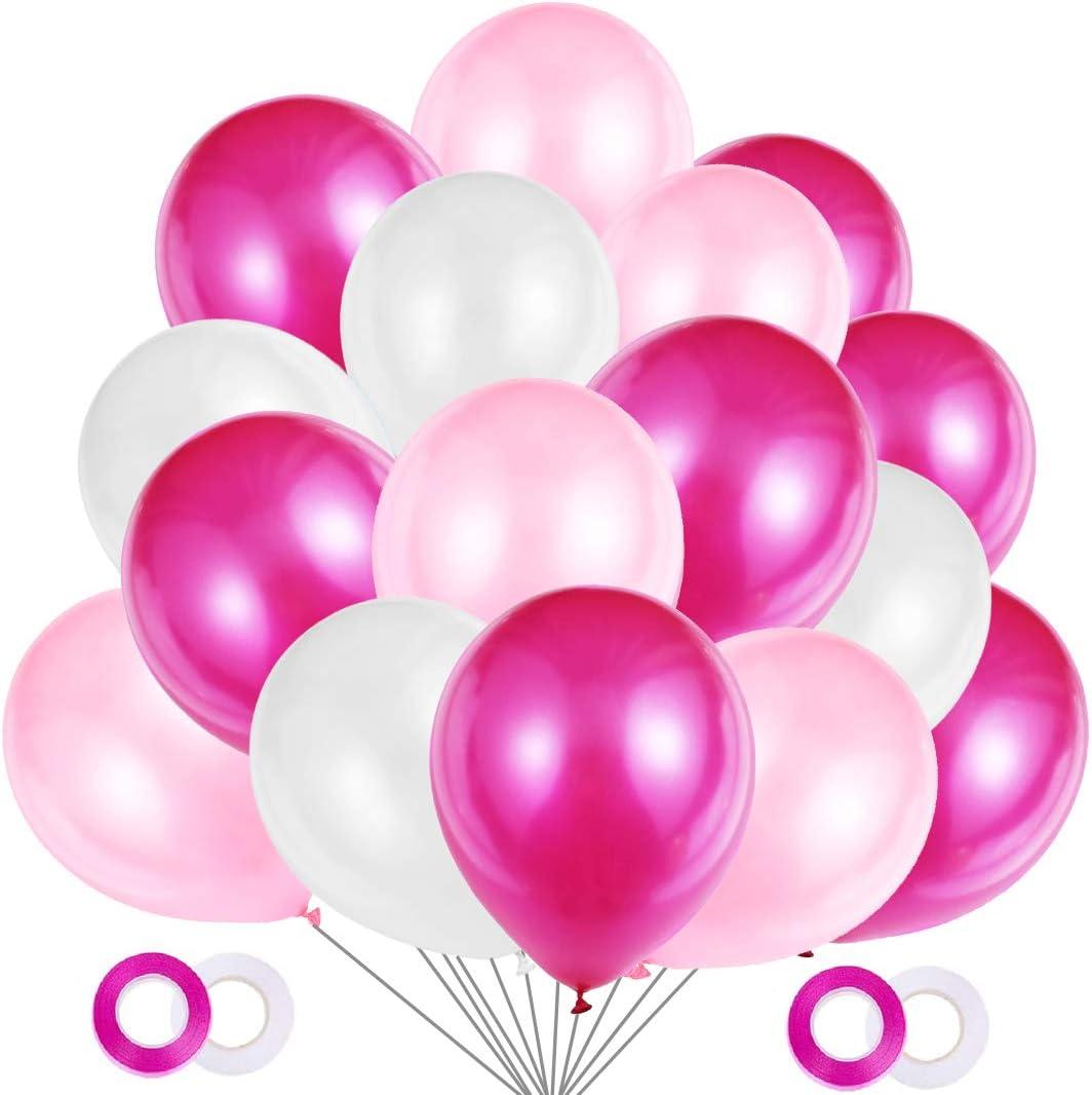 JOJOR Globos Rosas, 100 Piezas Globos Fucsia Rosa y Blancos, Globos de Helio Perlados para Fiesta Rosa, Primera Comunion, Bautizo Niña, Boda, Cumpleaños   30 Centímetros   Helio o Aire