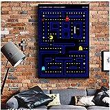 JLFDHR Clásico Memoria Infantil Pacman Juego de Arcade Carteles e Impresiones Imagen de Pared en Lienzo Pintura artística para decoración de Sala de estar-60x80cmx1 Sin Marco