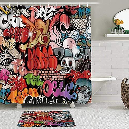 GOCHAN Juego de Cortina de Ducha de2piezas con alfombras Antideslizantes,Graffiti De Calavera con 12 Ganchos,Suministros de baño,Alfombra de baño y Cortina de Ducha