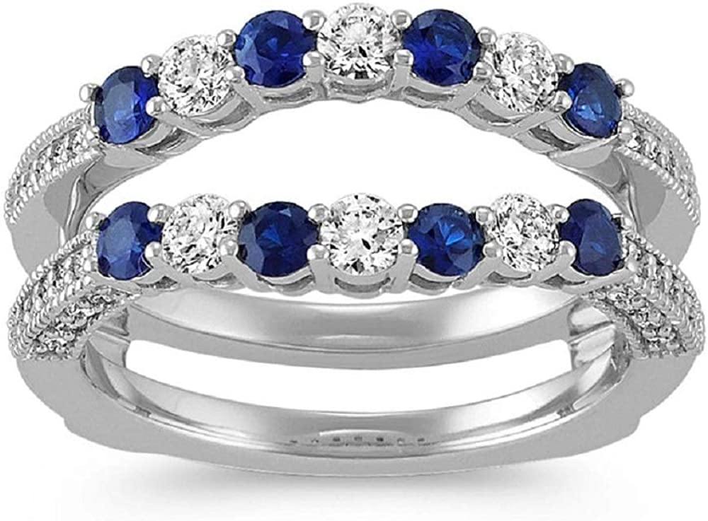 Ismatara Round Cut Blue White Diamond Sterling New Shipping Free 925 Silver Bombing new work 1 in