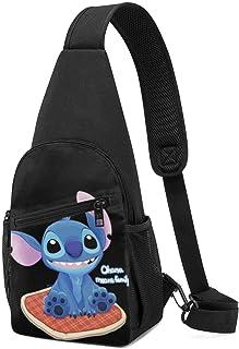 JHUIK Bolso bandolera Stitch Ohana significa familia bandolera bandolera viaje senderismo bolso de pecho mochila para muje...
