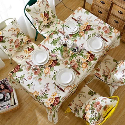 Pahajim Elegante Diseño de Estampado Floral Mantel Antimanchas Rectangular Impermeable Inicio Cocina Cena Picnic Mantel Decoración(Rectangular/Oval,140x220cm)
