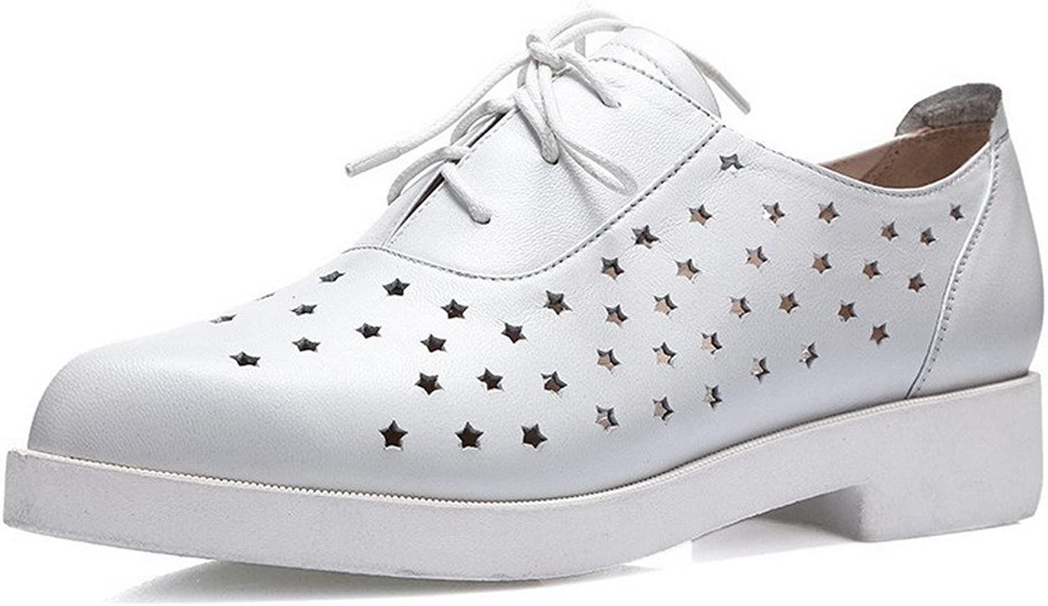 AllhqFashion Women's Round Closed Toe Cow Leather Low Heels Solid Pumps with Stars Ornament