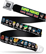 Buckle-Down Seatbelt Belt - DC Originals SUPER HEROES HAVE ISSUES TOO! Faces/Issues Black - 1.5