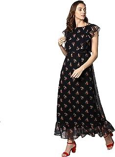 8c6c9459fb8 StyleStone Women's Black Printed Maxi Dress with Lining