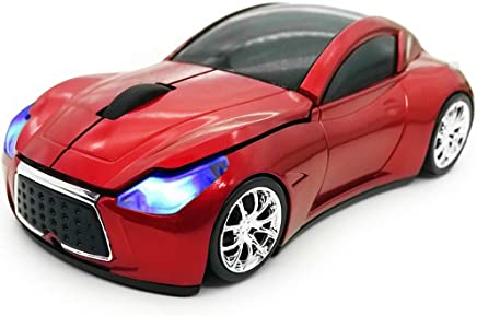 TDRTECH Wireless Car Mouse 2.4Ghz 3D DPI 1600 Cool Sport USB Gaming Mouse Mice for PC Computer Laptop Notebook Red