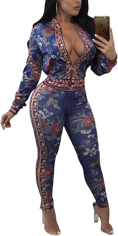 Knight Horse Women's Floral Print Zipper Jacket Long Pants Sweatsuits 2 Piece Jumpsuit Outfits