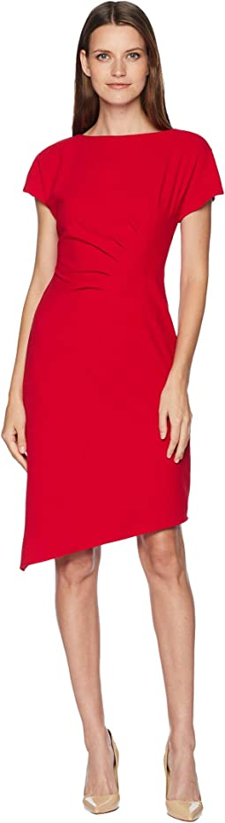 Short Sleeve Crepe Sheath with Side Ruching